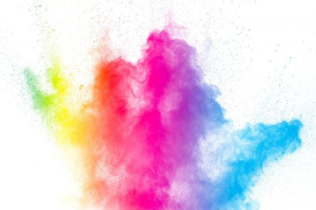 Die explosion von buntem holi-pulver. schönes regenbogenfarbenpulver fliegen weg. Premium Fotos