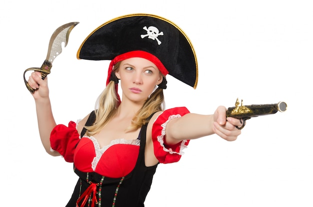 Die frau im piratenkostüm - halloween-konzept Premium Fotos