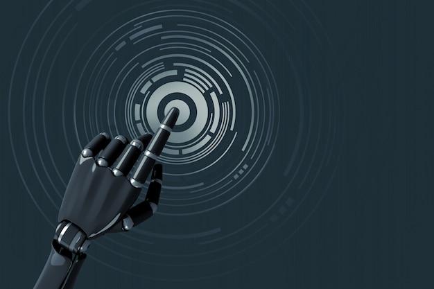 Die hand des roboters, die auf ein digitales konzentrisches muster drückt Premium Fotos