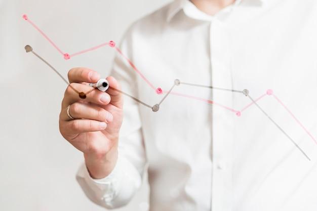 Die hand des wirtschaftlers, die diagramme auf glasbrett mit markierung vorbereitet Premium Fotos