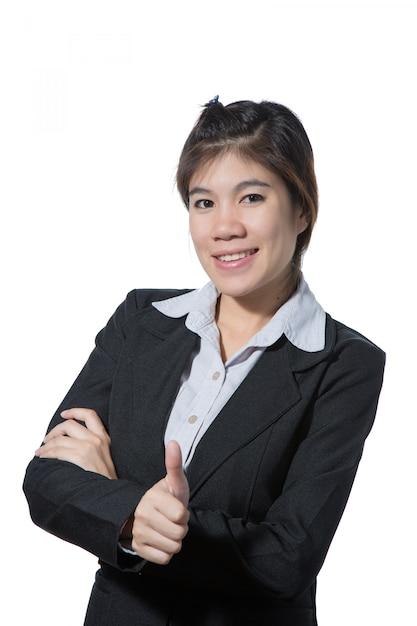 Die junge schöne geschäftsfrau, die daumen herauf hand, geschäftskonzept des erfolgs, guten job zeigt, genehmigen, nehmen an, stimmen und positives ergebnis zu Premium Fotos