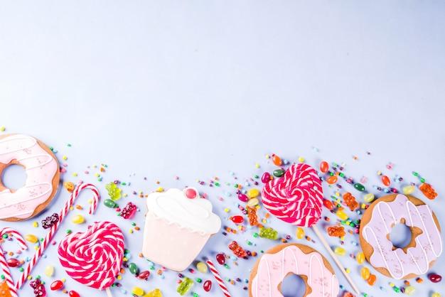 Die kreativen bonbons legen, nachtischkonzept aus Premium Fotos