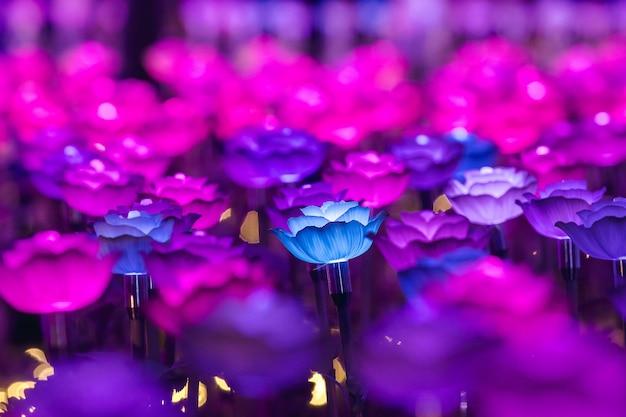 Die lichter sind als blumen geschmückt, um nachts beim festival ein schönes licht zu erzeugen. Premium Fotos