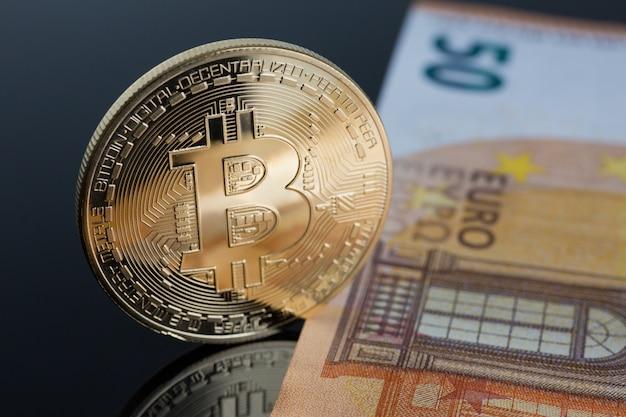 Die münze der kryptowährung bitcoin Premium Fotos