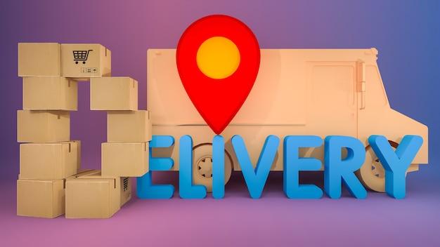 Die papierbox ist in d-form mit lieferschrift und roten stiftzeigern angeordnet. online-shopping und lieferkonzept. Premium Fotos