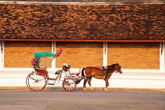 Die pferdekutsche in lampang bei wat phra that lampang luang, provinz lampang in lampang Premium Fotos