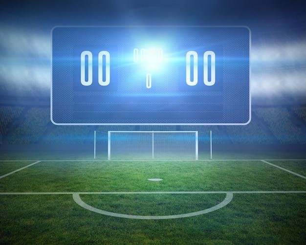 Digital erzeugter fußballplatz mit torpfosten und anzeigetafel Premium Fotos