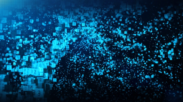 Digitale partikel der abstrakten blauen farbe bewegen mit staub und zahlhintergrund wellenartig Premium Fotos