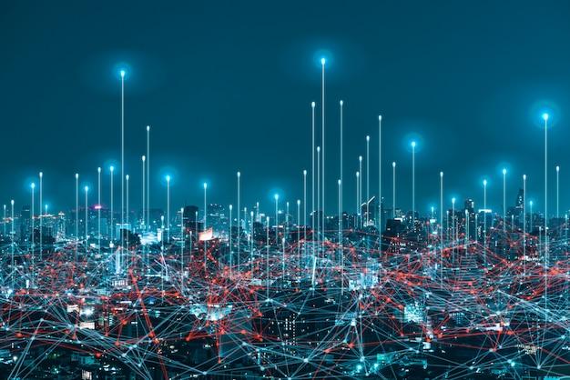 Digitales hologramm des netzwerks und internet von dingen auf stadthintergrund. drahtlose systeme des netzwerks. Premium Fotos