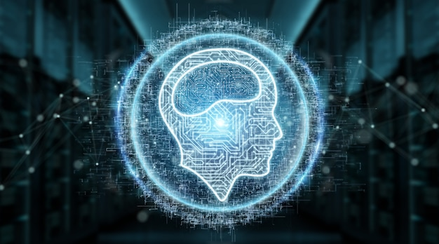 Digitales ikonenhologramm der künstlichen intelligenz Premium Fotos