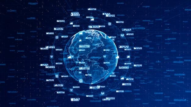 Digitalnetz-daten-und kommunikationsnetz-konzept-zusammenfassungs-hintergrund. world originalquelle aus der nasa Premium Fotos
