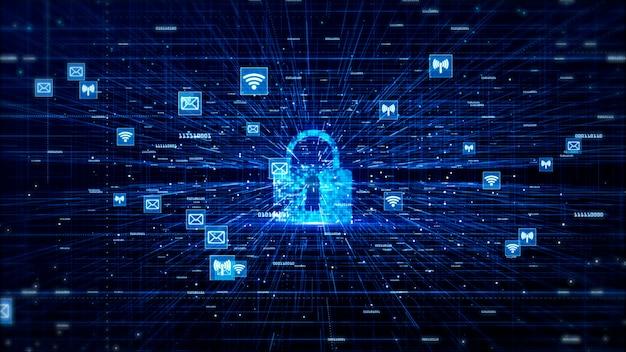 Digitalnetz-daten-und kommunikationsnetz-konzept-zusammenfassungs-hintergrund Premium Fotos