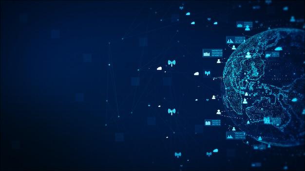Digitaltechnik-netzwerk-daten-und kommunikations-konzept-zusammenfassungs-hintergrund. von der nasa eingerichtetes erdelement Premium Fotos