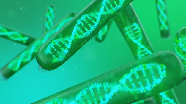 Dna-molekül, seine struktur. konzept menschliches genom. dna-molekül mit modifizierten genen. konzeptionelle darstellung eines dna-moleküls in einem glasreagenzglas mit flüssigkeit. medizinische geräte, 3d-illustration Premium Fotos