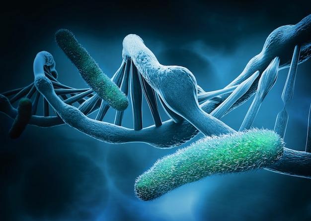 Dna-struktur und bakterien, abstrakter hintergrund Premium Fotos