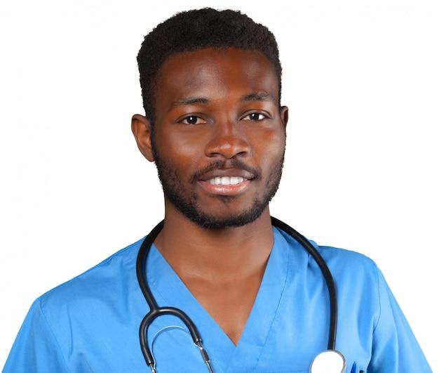 Doktor mit dem stethoskop getrennt Premium Fotos