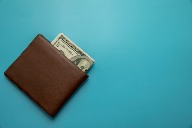 Dollar in den braunen beuteln gelegt auf ein blau Premium Fotos
