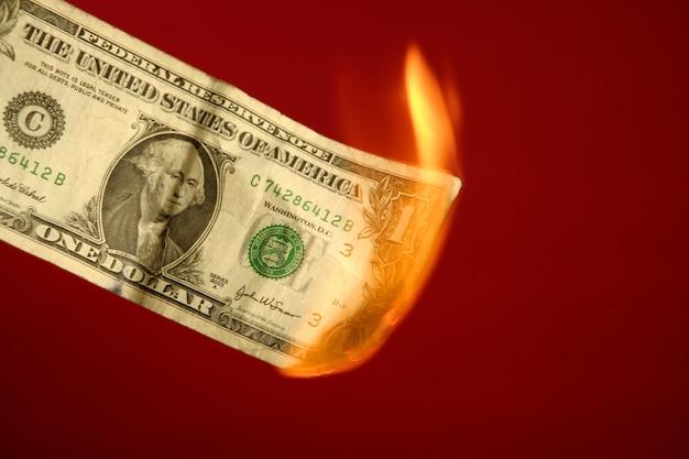 Dollaranmerkung, die im feuer über rot brennt Premium Fotos