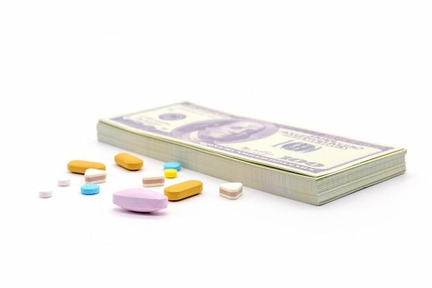 Dollarbank- und medizinkapseln Premium Fotos