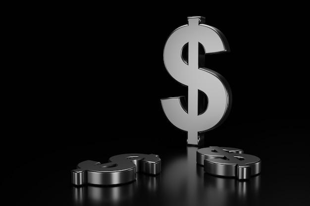 Dollarzeichen auf schwarzem Premium Fotos