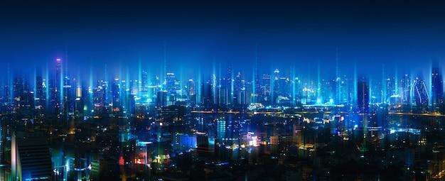 Drahtloses netzwerk und verbindungsstadt Premium Fotos