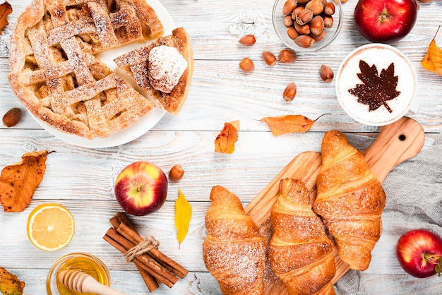 Draufsicht auf herrliches frühstück Kostenlose Fotos