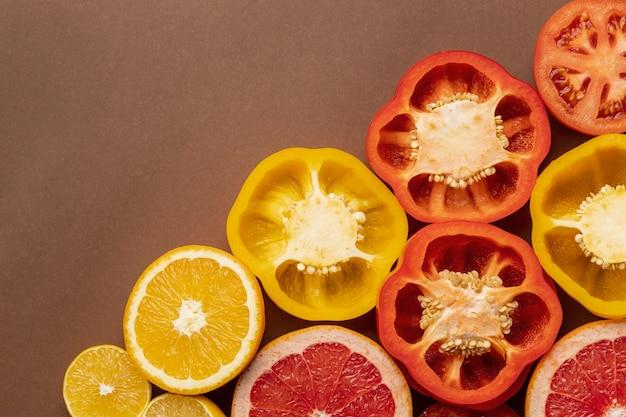 Draufsicht auf paprika mit kopierraum Kostenlose Fotos