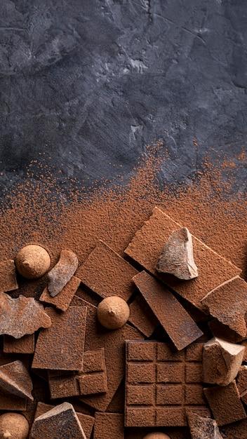 Draufsicht auf schokolade und süßigkeiten mit kakaopulver und kopienraum Kostenlose Fotos