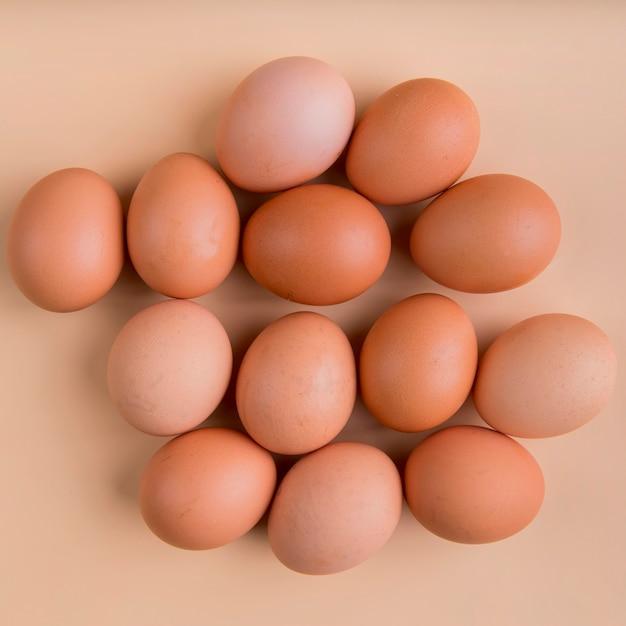 Draufsicht braune eier Premium Fotos
