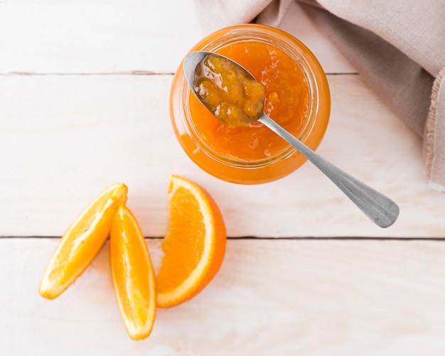 Draufsicht der orange marmelade Kostenlose Fotos