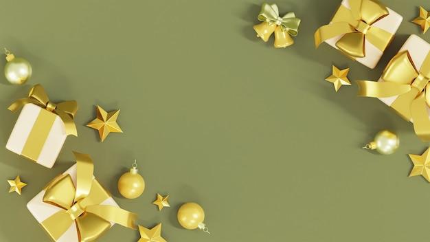 Draufsicht der realistischen geschenkboxen mit golddekorations-3d-darstellung Premium Fotos