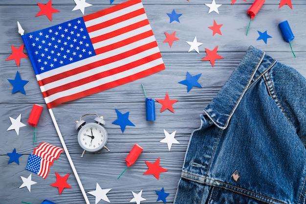 Draufsicht des amerikanischen unabhängigkeitstagzubehörs Kostenlose Fotos