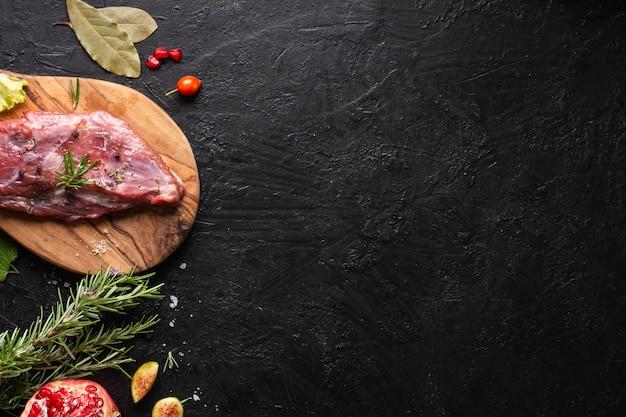 Draufsicht des fleischkonzepts mit kopierraum Kostenlose Fotos