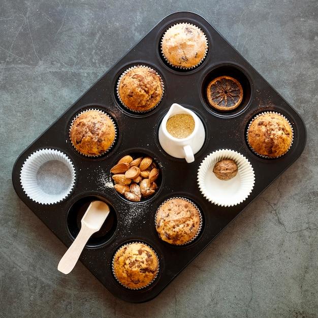 Draufsicht des köstlichen cupcake-konzepts Kostenlose Fotos
