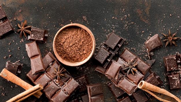 Draufsicht des köstlichen schokoladenkonzepts Kostenlose Fotos
