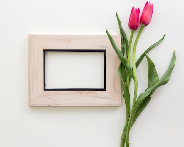 Draufsicht des leeren fotorahmens mit roter tulpe blüht vorbei lokalisiert auf weißem hintergrund Kostenlose Fotos