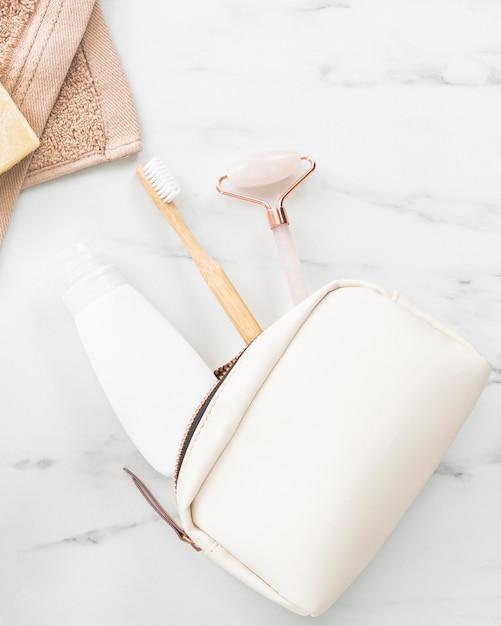 Draufsicht des öko-kosmetikkonzepts Premium Fotos