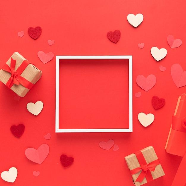 Draufsicht des schönen valentinstagkonzepts Kostenlose Fotos