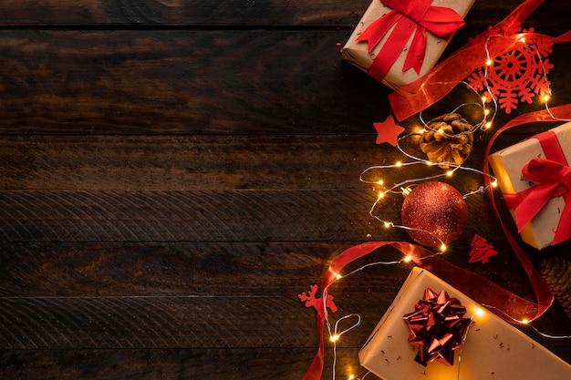 Draufsicht des weihnachtskonzepts mit kopienraum Kostenlose Fotos