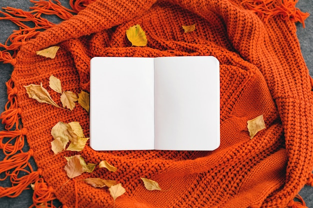 Draufsicht eines notizbuches mit herbstlaub auf rötlichem gestricktem hintergrund. attrappe, lehrmodell, simulation. Premium Fotos