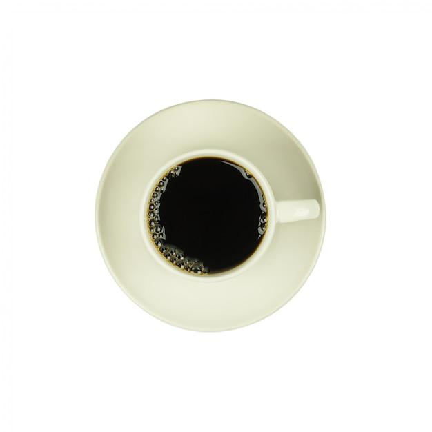 Draufsicht eines tasse kaffees, isolat auf weiß Premium Fotos