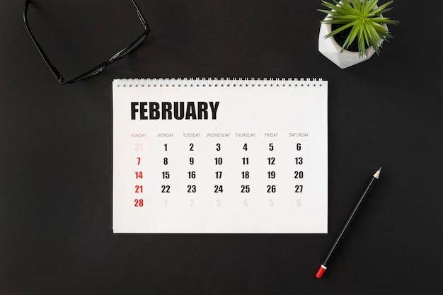 Draufsicht februar monatsplaner kalender Kostenlose Fotos