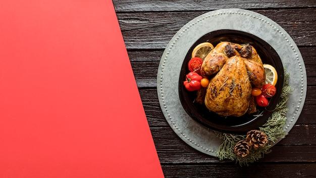 Draufsicht festliche weihnachtsmahlzeitanordnung mit kopienraum Kostenlose Fotos
