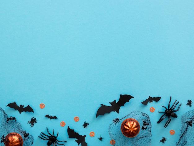 Draufsicht halloween-elemente mit kopierraum Kostenlose Fotos
