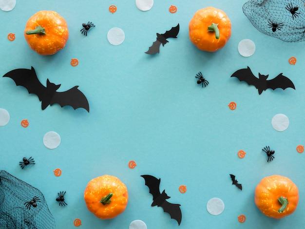 Draufsicht halloween-konzept mit kürbissen Premium Fotos