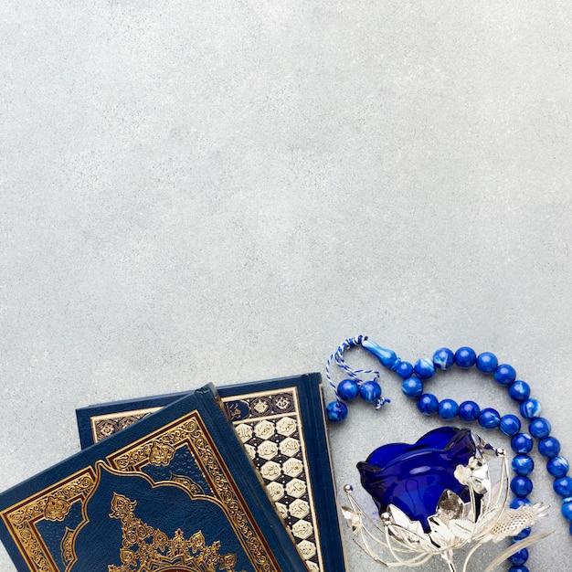 Draufsicht islamisches neujahrskonzept mit kopienraum Premium Fotos