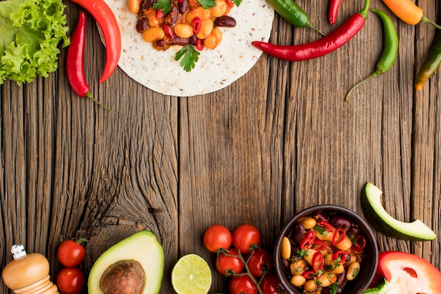 Draufsicht köstliches mexikanisches essen bereit, serviert zu werden Kostenlose Fotos