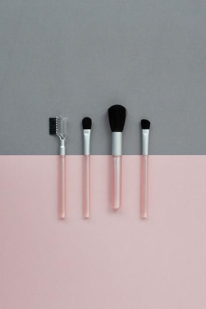 Draufsicht make-up pinsel mit kopierraum gesetzt Premium Fotos