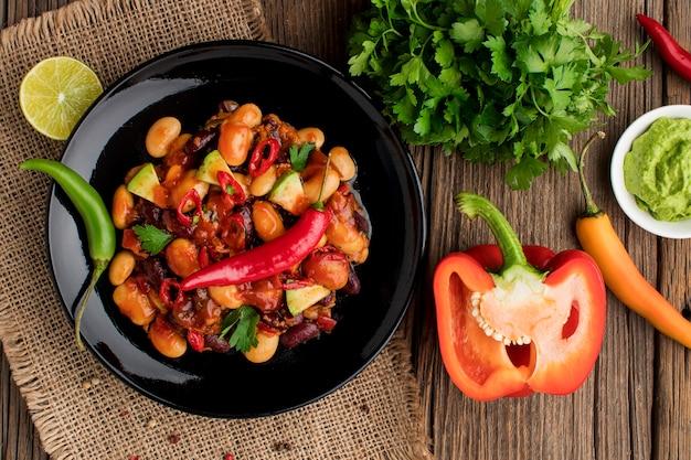 Draufsicht mexikanisches essen bereit, serviert zu werden Kostenlose Fotos