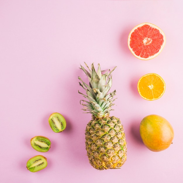 Draufsicht tropische früchte Kostenlose Fotos